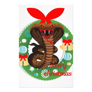 merry christmas cobra snake stationery