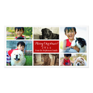 Merry Christmas Collage Six Family Pics Photo Card Template