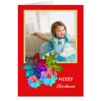 Merry Christmas Colorful Succulent Floral Photo Card
