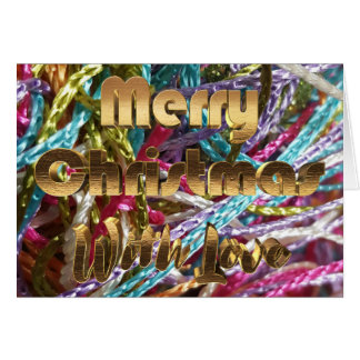 Merry Christmas Colorful Yarn Gold Typography Card