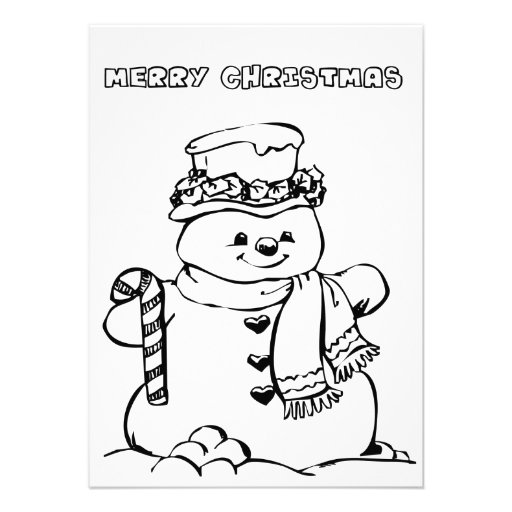 Merry Christmas Coloring Card Personalized Announcement