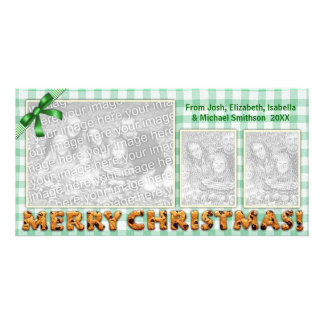 Merry Christmas Cookies Plaid Tablecloth All Green Photo Card Template