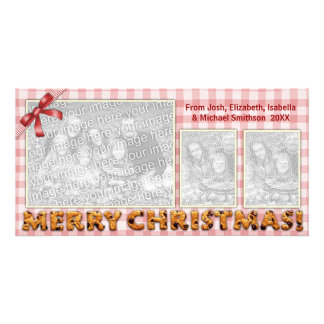 Merry Christmas Cookies Plaid Tablecloth All Red Custom Photo Card