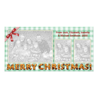 Merry Christmas Cookies Plaid Tablecloth Personalized Photo Card