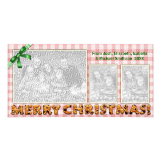 Merry Christmas Cookies Plaid Tablecloth Red Picture Card