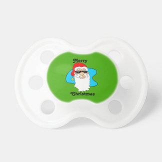 Merry Christmas Cool Santa In Sunglasses Pacifier