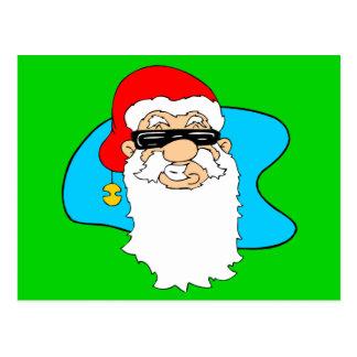 Merry Christmas Cool Santa In Sunglasses Postcard