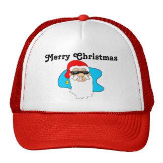 Merry Christmas Cool Santa In Sunglasses Trucker Hat