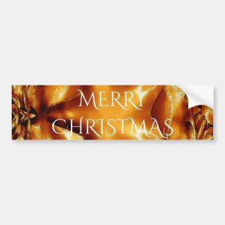 Merry Christmas Copper Gold Shiny Star Bumper Sticker