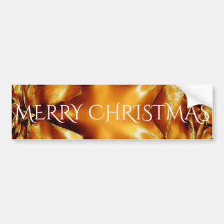 Merry Christmas Copper Gold Shiny Star Bumper Sticker