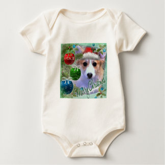 Merry Christmas Corgi Puppy Baby Bodysuit
