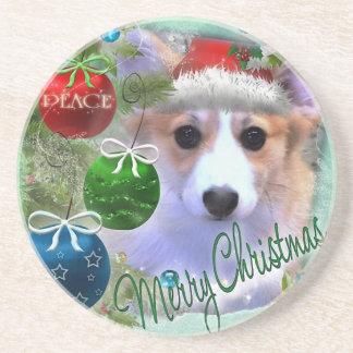 Merry Christmas Corgi Puppy Coasters