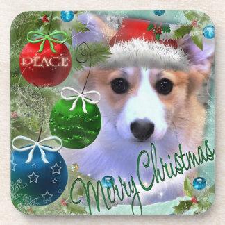 Merry Christmas Corgi Puppy Drink Coasters