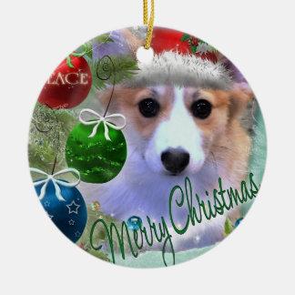Merry Christmas Corgi Puppy Round Ceramic Ornament