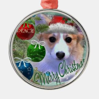 Merry Christmas Corgi Puppy Silver-Colored Round Ornament