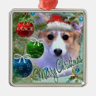 Merry Christmas Corgi Puppy Silver-Colored Square Ornament