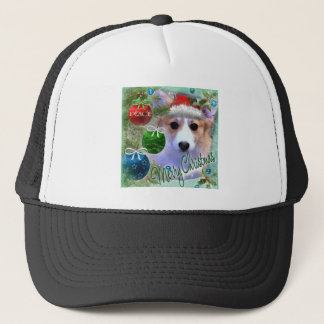Merry Christmas Corgi Puppy Trucker Hat