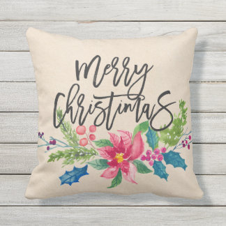 Merry Christmas Cotton Fabric Textured Throw Pillow