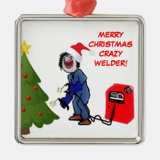 Merry Christmas Crazy Welder Silver-Colored Square Ornament
