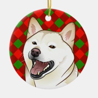 Merry Christmas Cream Shiba Inu Ornament