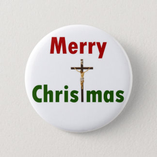 Merry Christmas Crucifix 2 Inch Round Button