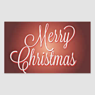 Merry Christmas Cursive on Maroon Background Sticker