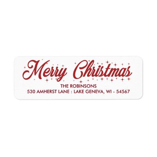 Merry Christmas Cursive Script Label Return Address Label