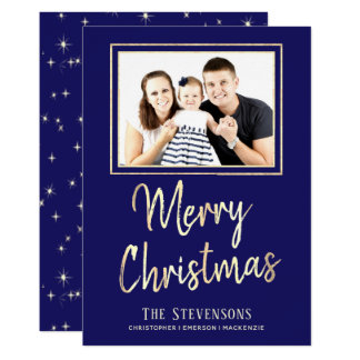 Merry Christmas | Custom Blue Gold | Holiday Photo Card