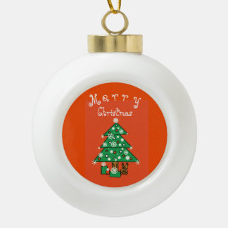 Merry Christmas Customizable Ceramic Ball Ornament