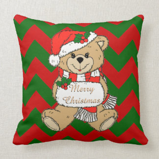 Merry Christmas Cute Christmas Bear Nursery Throw Pillow