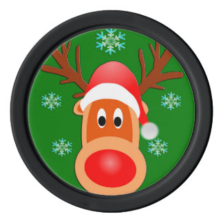 Merry Christmas Cute Deer Clay Poker Chips, Black Set Of Poker Chips
