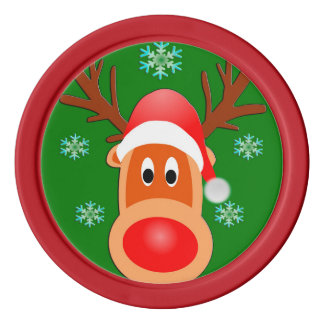 Merry Christmas Cute Deer Clay Poker Chips, Red Poker Chips