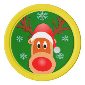 Merry Christmas Cute Deer Clay Poker Chips, Yellow Poker Chips