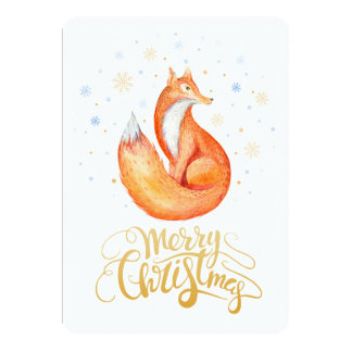Merry Christmas Cute Fox and Snowflakes Card