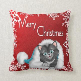 Merry Christmas Cute Kitty Pillow