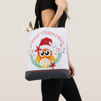 Merry Christmas Cute Owl Wreath Tote Bag
