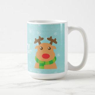 Merry Christmas - Cute Reindeer with Red Nose Coffee Mug