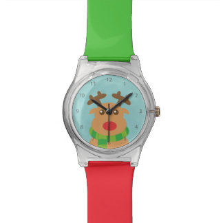 Merry Christmas - Cute Reindeer with Red Nose Watches
