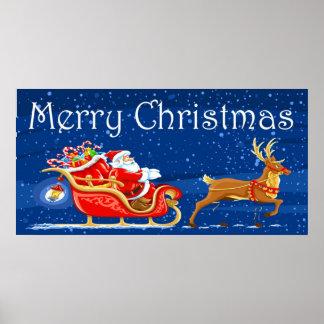 Merry Christmas Cute Santa Claus Cartoon Poster