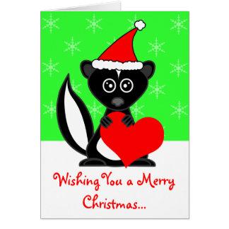 Merry Christmas Cute Skunk Greeting Card