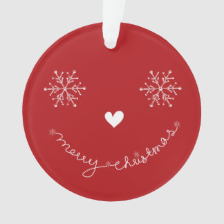 Merry Christmas Cute Smiley Holiday Photo Ornament