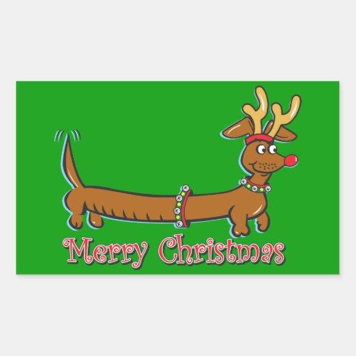 Merry Christmas Dachshund Rectangular Sticker