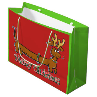 Merry Christmas Dachshund with Antlers Large Gift Bag