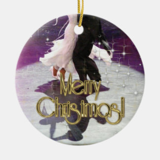 Merry Christmas Dancers Round Ceramic Ornament