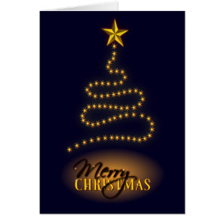 Merry Christmas Dark Blue and Gold Greeting Card Card