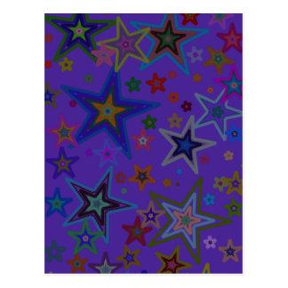 Merry Christmas Dark Purple, Stars Heaven Star Postcard