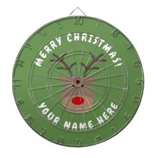Merry Christmas dartboard with Rudolf the reindeer