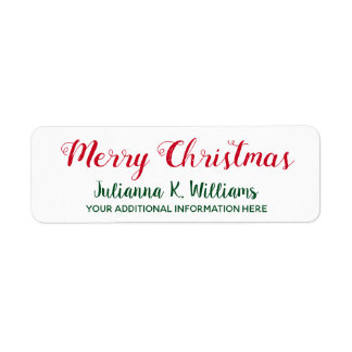 Merry Christmas . December best wishes red&green Return Address Label