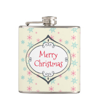 Merry Christmas Decoration Pink & Blue Snowflakes Hip Flask