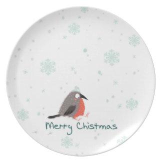 Merry Christmas decorative plates with cute bird